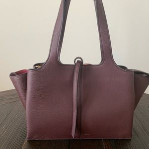 NEW Burgundy Red Céline Trifold Tri Fold Purse Bag
